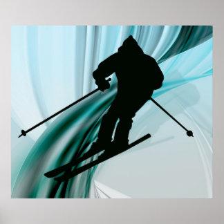 Esquiador en declive en cintas heladas impresiones