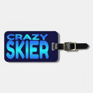 Esquiador loco etiqueta de equipaje