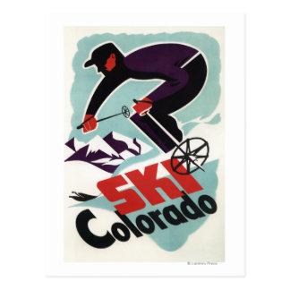 Esquiador negro y púrpura vestido tarjetas postales