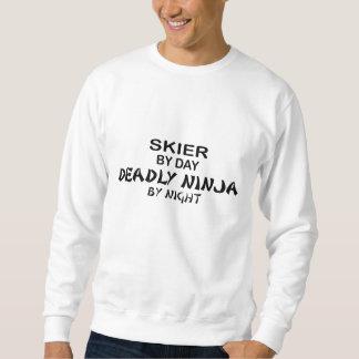Esquiador Ninja mortal por noche Pullover Sudadera