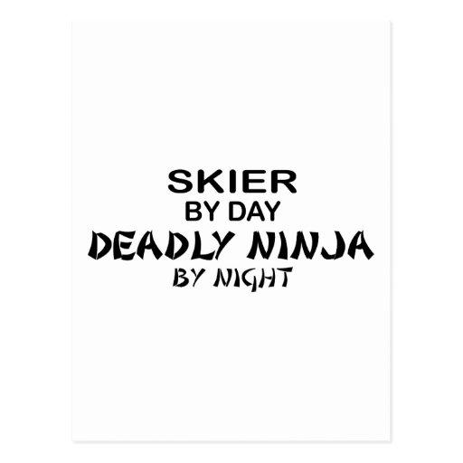 Esquiador Ninja mortal por noche Tarjeta Postal