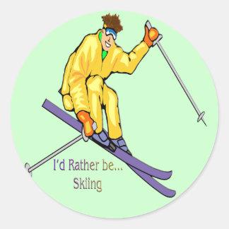 Esquiador Pegatina Redonda