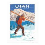 Esquiador que lleva SkisUtah Postal
