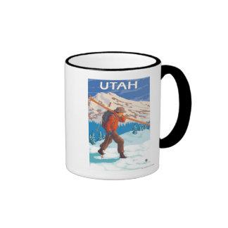 Esquiador que lleva SkisUtah Taza