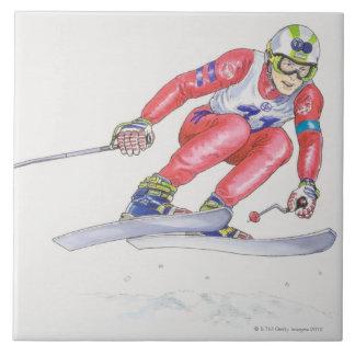 Esquiador que realiza el salto 2 azulejos ceramicos