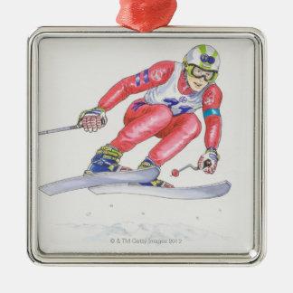 Esquiador que realiza el salto 2 adorno de reyes