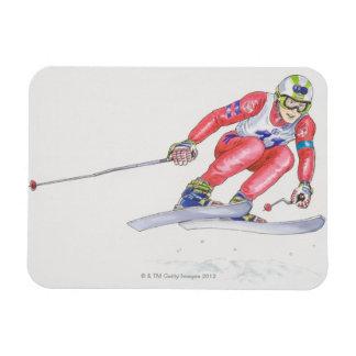 Esquiador que realiza el salto 2 imán
