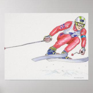 Esquiador que realiza el salto 2 impresiones