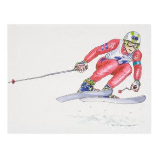 Esquiador que realiza el salto 2 tarjetas postales
