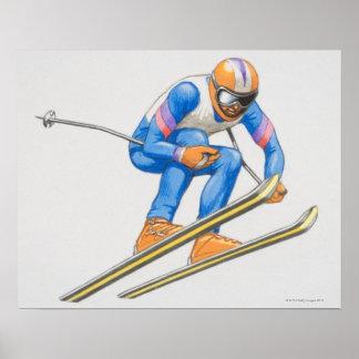Esquiador que realiza salto impresiones