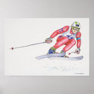 Esquiador que realiza salto póster