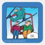Esquiadores agradables del dibujo animado del pegatina cuadradas personalizada