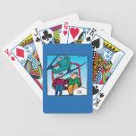 Esquiadores agradables del dibujo animado del salt cartas de juego