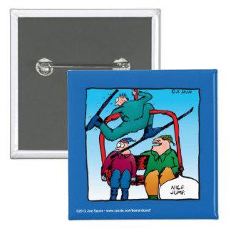 Esquiadores agradables del dibujo animado del salt pin cuadrado