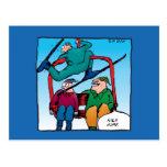 Esquiadores agradables del dibujo animado del salt tarjeta postal