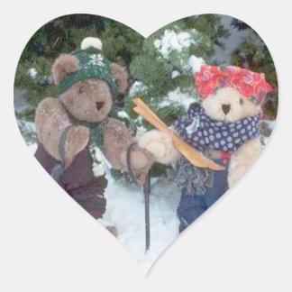 Esquiadores de Bearly Pegatina En Forma De Corazón