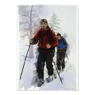 """Esquiadores del campo a través invitación 5"""" x 7"""""""