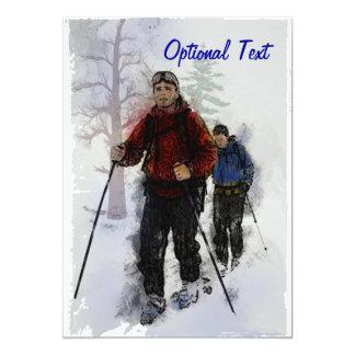 """Esquiadores del campo a través - personalizable invitación 5"""" x 7"""""""