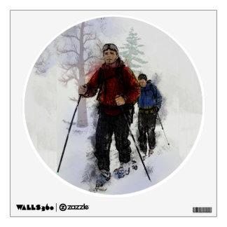 Esquiadores del campo a través vinilo