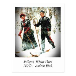 Esquiadores del invierno postal