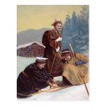 Esquiadores noruegos tarjeta postal