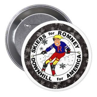 Esquiadores para Romney Pin Redondo De 3 Pulgadas