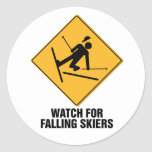 Esquiadores que caen pegatinas redondas