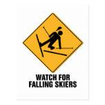 Esquiadores que caen postal
