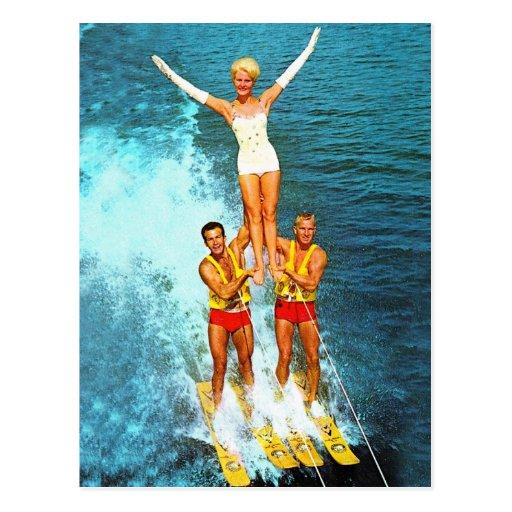 Esquiadores retros del agua de los Dells de las Postales
