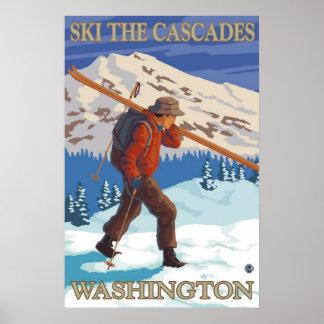 Esquían las cascadas - poster del viaje del estado