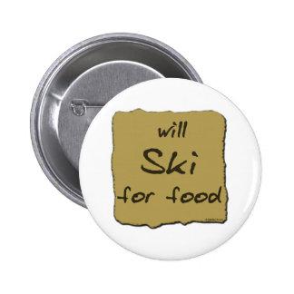 Esquiará para la comida pin redondo 5 cm