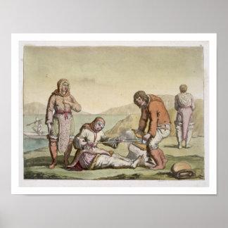 Esquimales, 1817 (grabado del color) poster