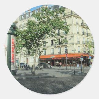 Esquina de calle de París Pegatina Redonda