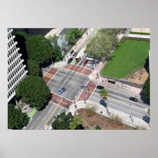 Esquina de calle en Los Ángeles céntrico Impresiones