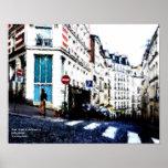 Esquina de calle en Montmartre, París, Francia Impresiones