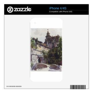Esquina de la ciudad medieval con una pared por iPhone 4S calcomanía