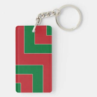 Esquina del color rojo/verde (MB) Llavero Rectangular Acrílico A Doble Cara