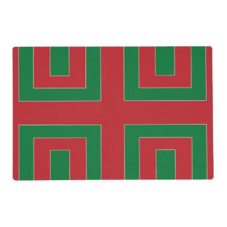 Esquina del color rojo/verde (TA) Tapete Individual