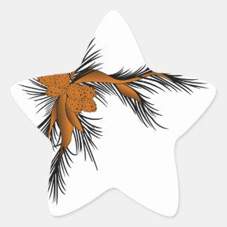 Esquina del pino pegatina en forma de estrella