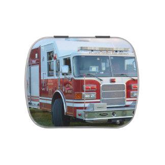 Esquina delantera del diseño del bombero del coche frascos de caramelos