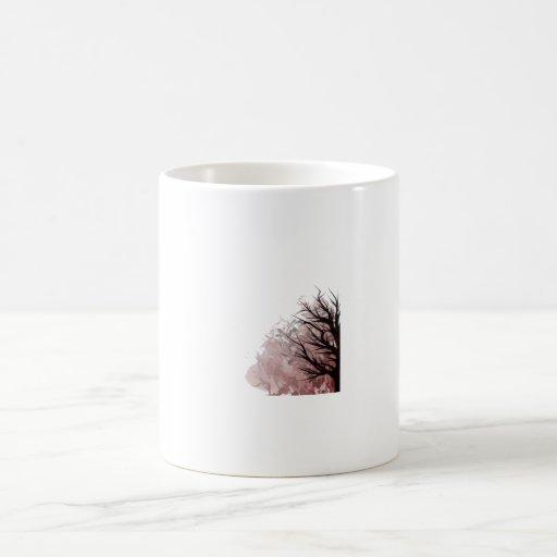 Esquina derecha floral púrpura del árbol taza básica blanca