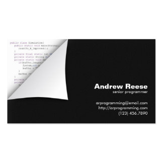 Esquina encrespada con la codificación del program tarjetas de negocios