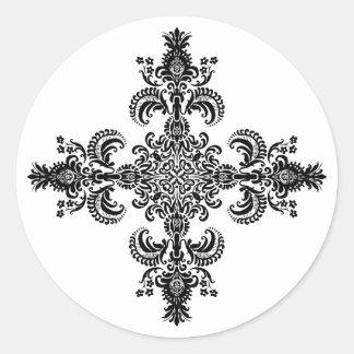 Esquinas de la meditación 4 de la flor de lis etiqueta redonda