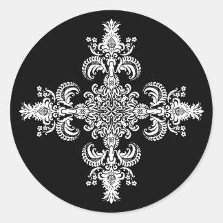 Esquinas de la meditación 4 de la flor de lis pegatina redonda