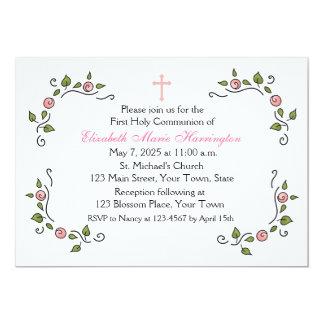 """Esquinas florales rosadas, religiosas invitación 5"""" x 7"""""""