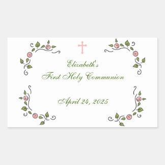 Esquinas florales rosadas, religiosas pegatina rectangular