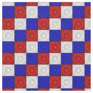 Esquinas plisadas, tela Azul-Zazzle blanca roja Telas