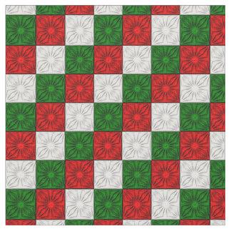 Esquinas plisadas, tela Verde-Zazzle blanca roja Telas