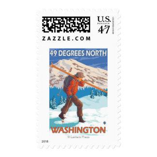 Esquís de la nieve del esquiador que llevan - 49 sellos