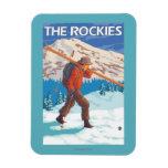 Esquís de la nieve del esquiador que llevan - los iman flexible